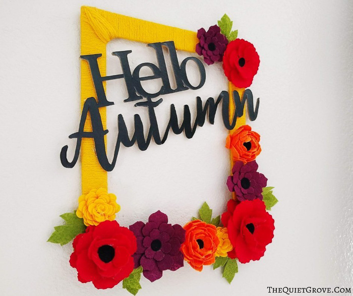 Hello Autumn Fall Decor Idea to make with a Cricut - The Quiet Grove