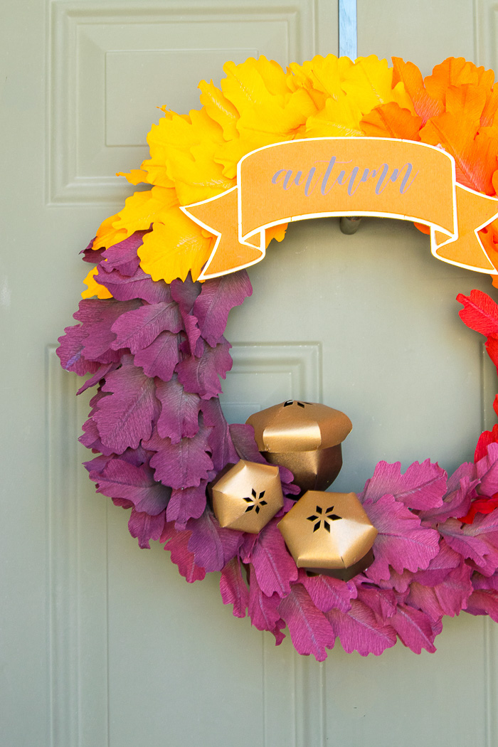 Crepe Paper Leaves Fall Wreath - See Lindsay