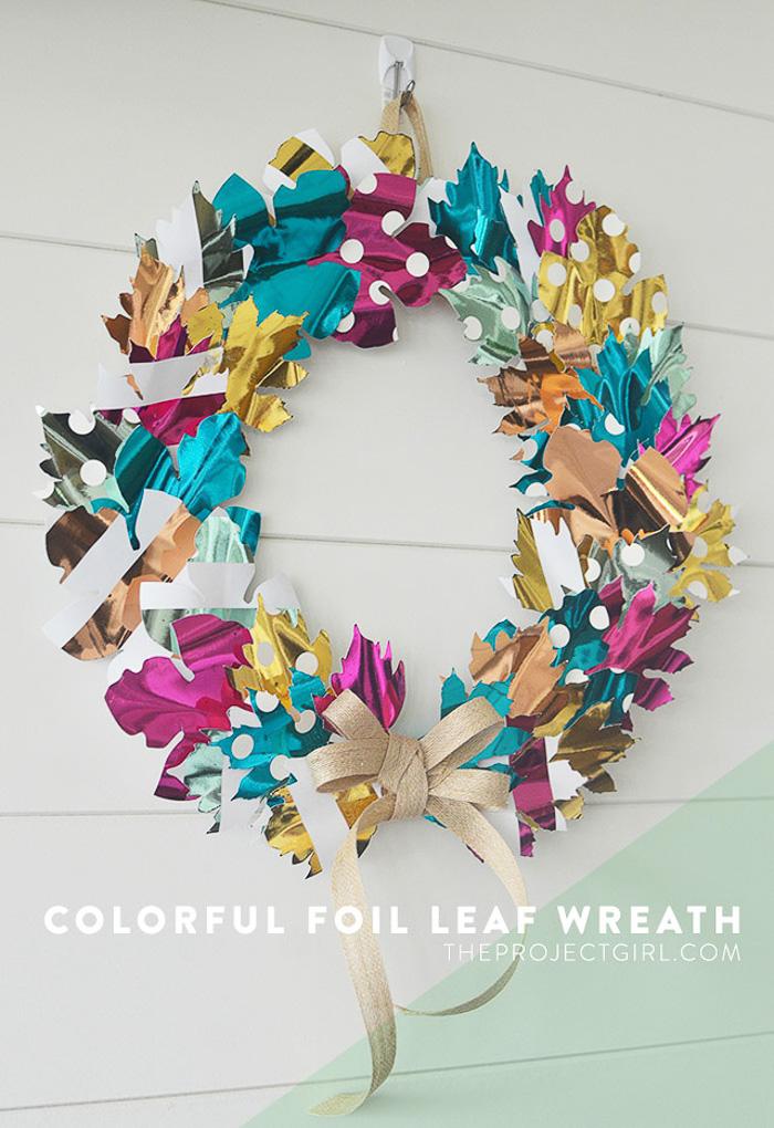 Colorful Foil Leaf Fall Wreath with Cricut