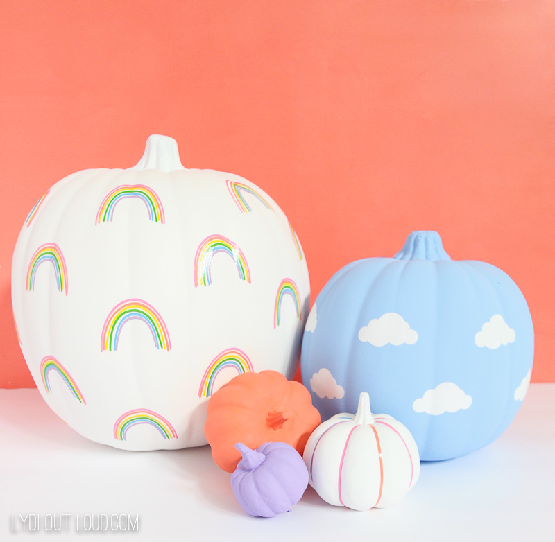 DIY Rainbow and Clouds Pumpkin Decals