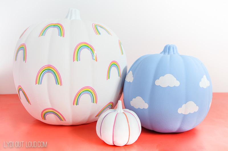 Rainbow and clouds vinyl pumpkin designs