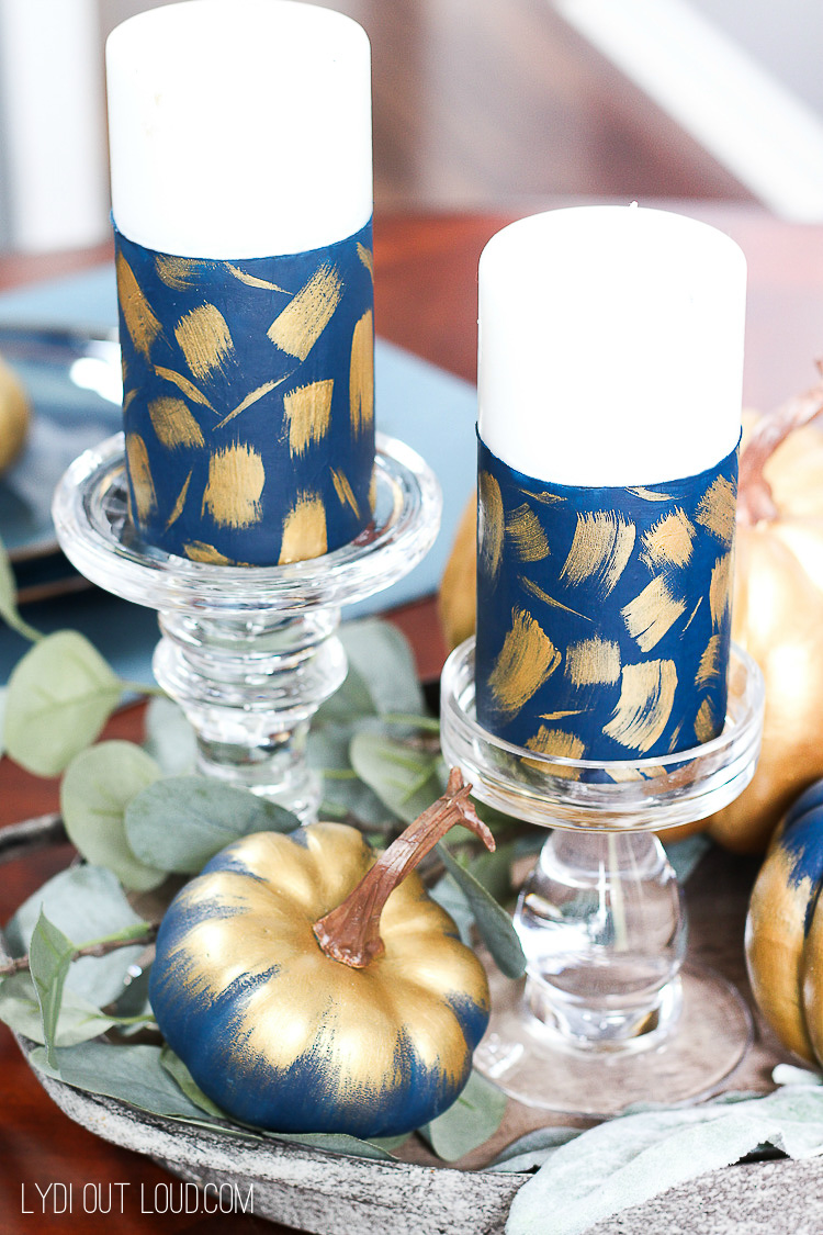 DIY Painted Brushstroke Candles