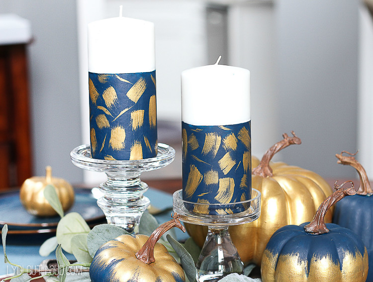 Painted Brushstroke Pillar Candles