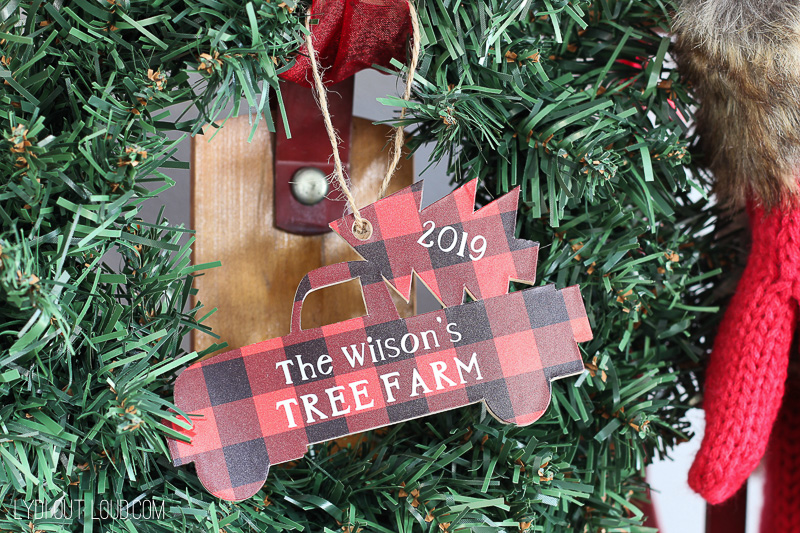 Wood personalized vintage Christmas truck ornament