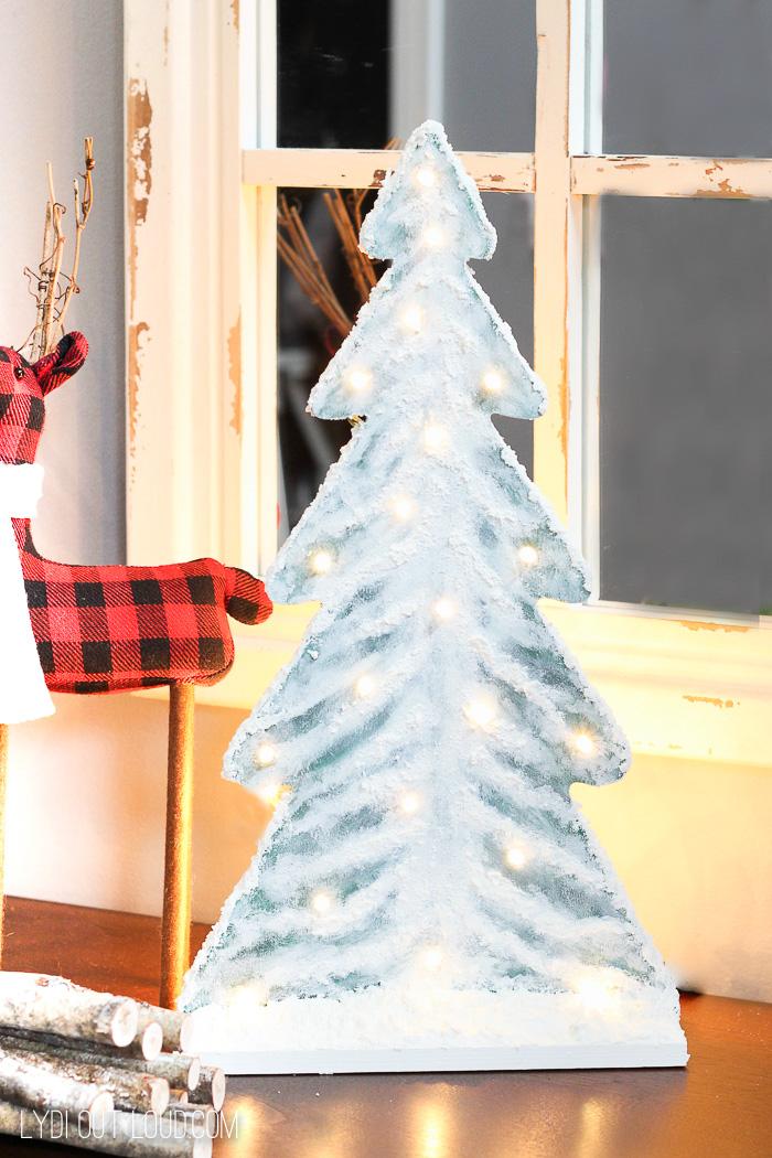 Lighted DIY Snowy Wood Tree