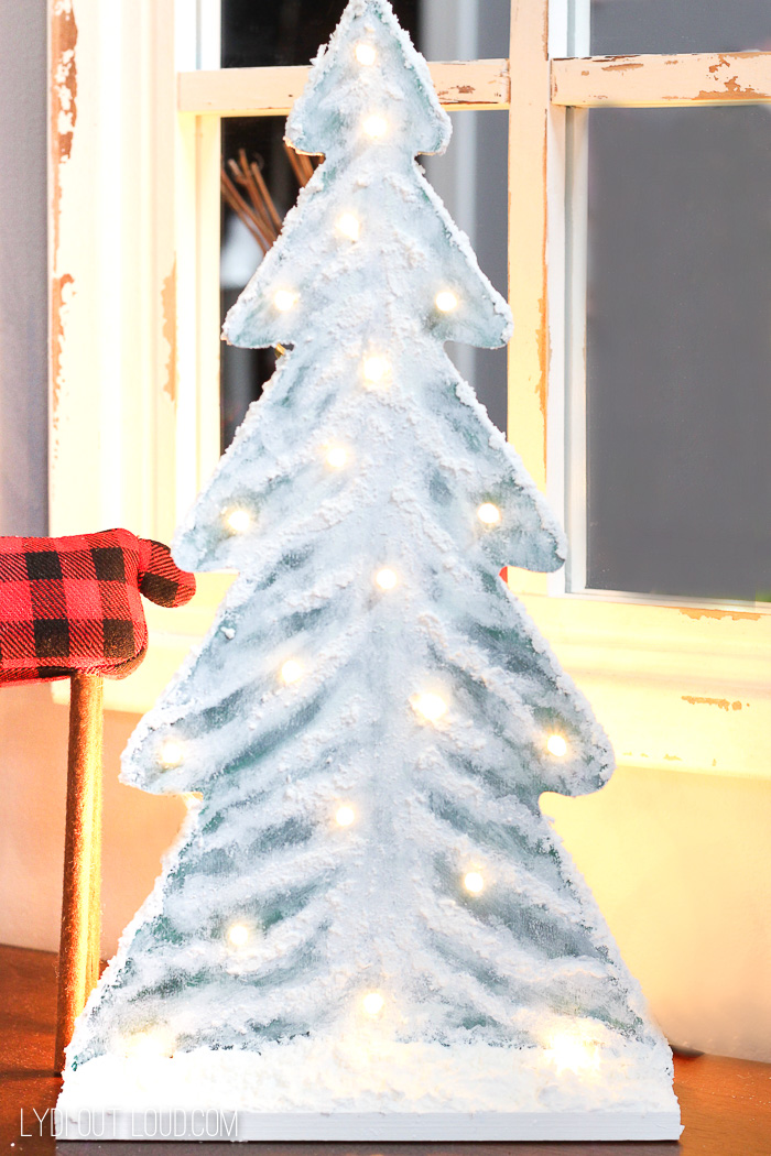 Faux Snow Wood Christmas Tree