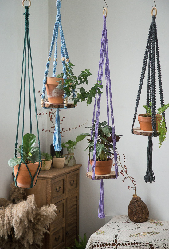 Macrame Wood Shelf Hangers