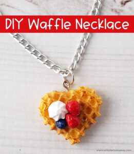 resin waffle necklace