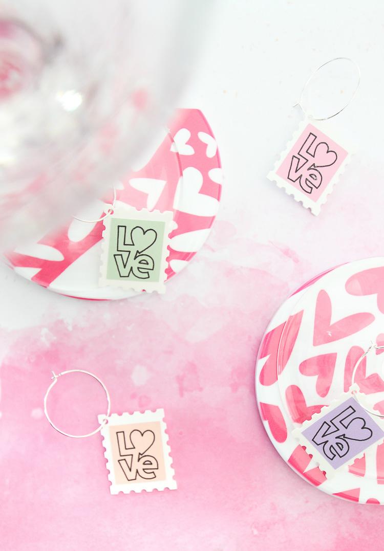 Valentine's Day postage stamp wine glass charms