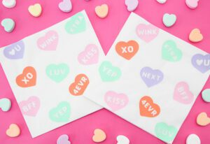 DIY Conversation Heart Beverage Napkins