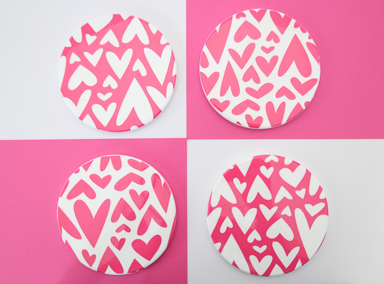 DIY Valentine's Day infusible ink coasters