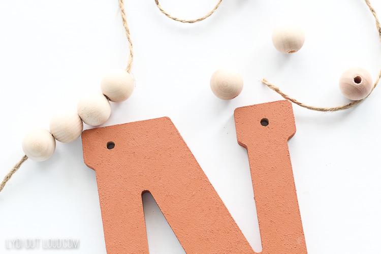 Beaded letter monogram