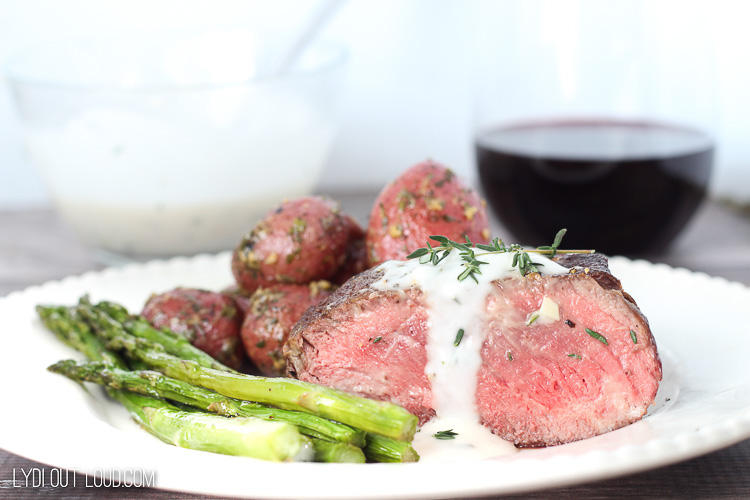 Beef Tenderloin Steaks with Garlic Aioli Sauce