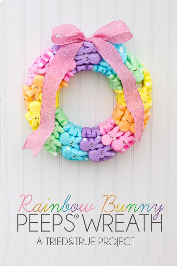 Rainbow Peeps Easter Wreath