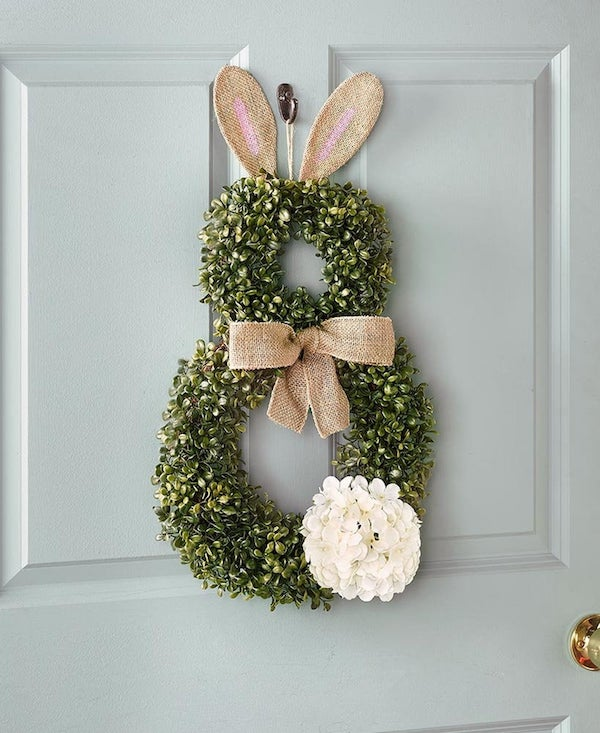 boxwood cottontail bunny wreath
