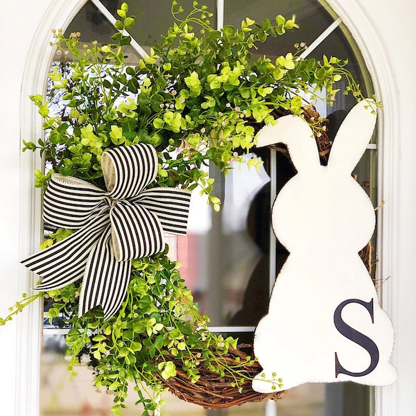 Easter monogram wreath