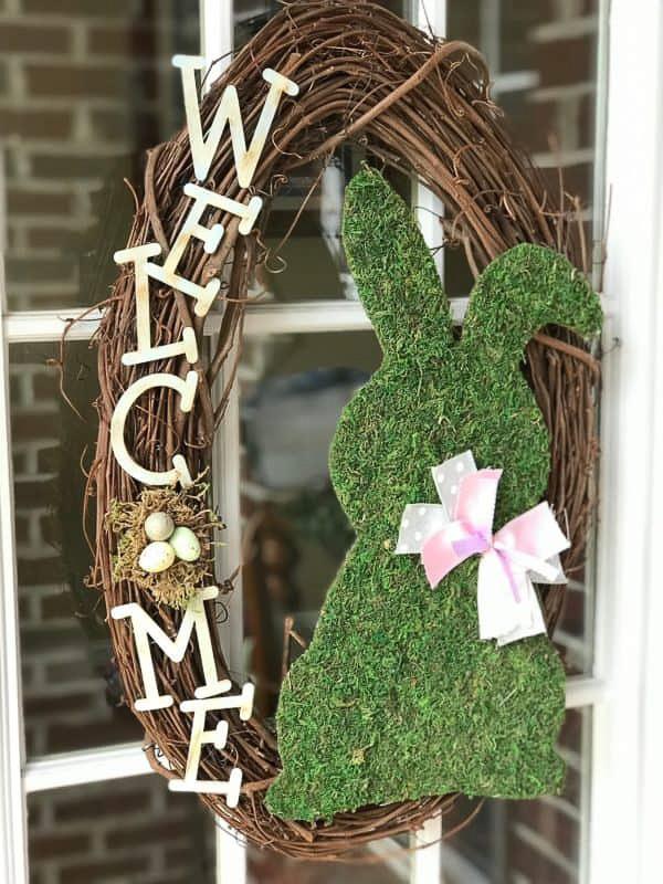 Welcome Moss Bunny Wreath