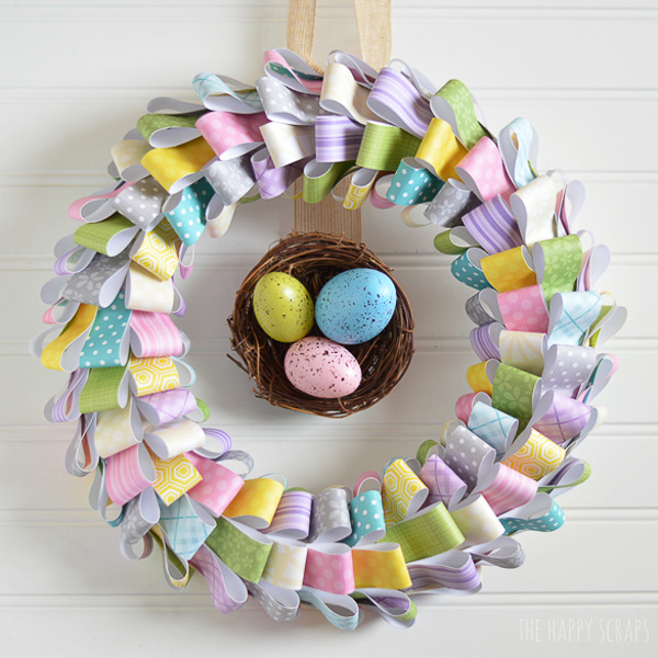 Paper Easter Wreath - The Happy Scraps