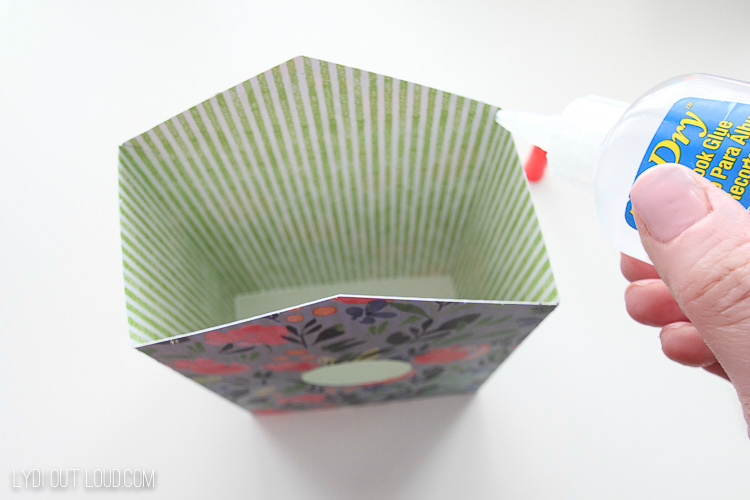 glue top of diy paper birdhouse