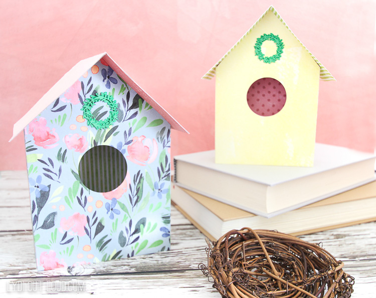 Paper Birdhouses made with a Cricut Maker