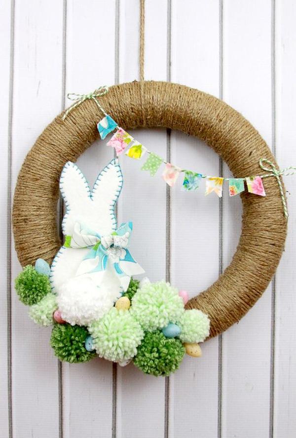 Easter bunny spring pom pom wreath