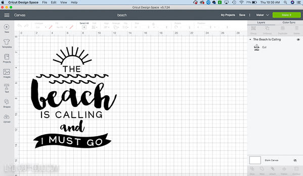 beach tote cut file in cricut design space