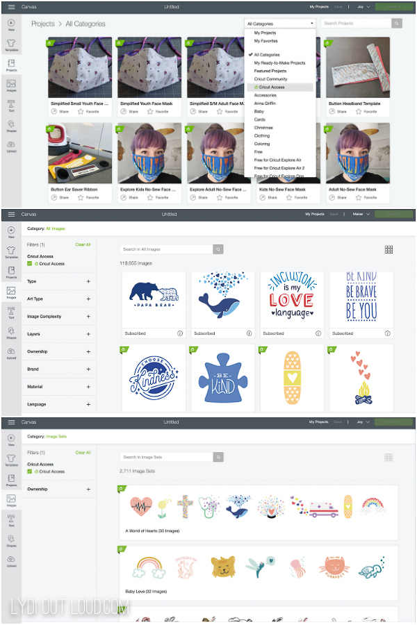 how to search for cricut access images and projects in cricut design space