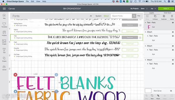 cricut fonts in design space