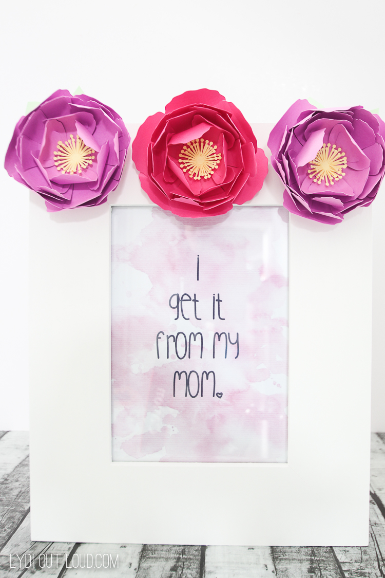 Mother's Day Photo Frame with Cricut Paper Flowers