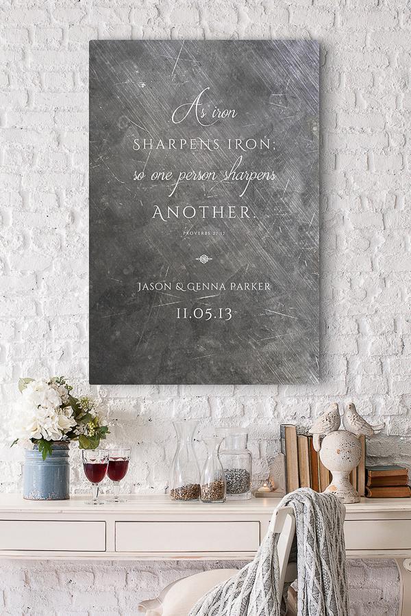 Iron scripture sign - 6 year wedding anniversary gift idea