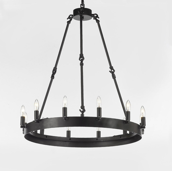 iron barn style chandelier