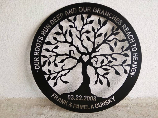 Iron family tree sign - 6 year iron anniversary gift idea