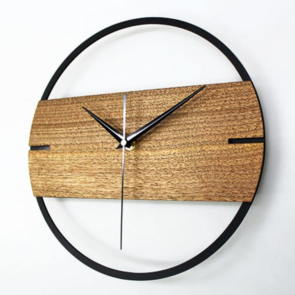 Iron and wood clock - 6 year anniversary gift idea