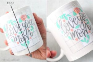 how to use transfer tape with vinyl on a coffee mug