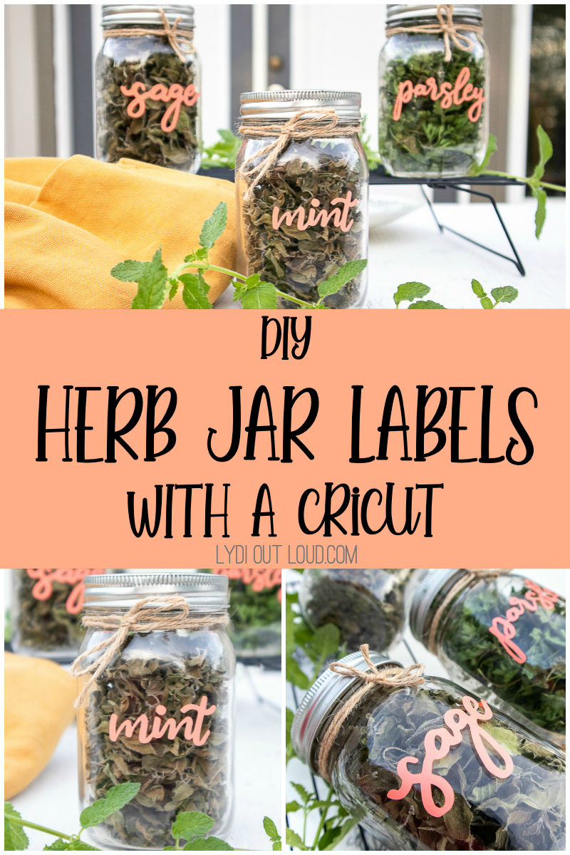 How to Make DIY Herb Jar Labels with a Cricut Joy with FREE SVG via @lydioutloud