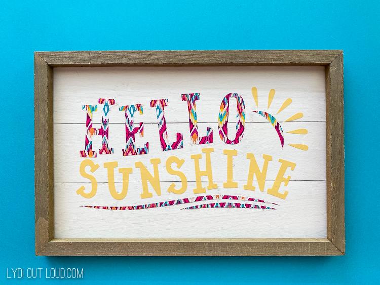 Hello Sunshine shiplap framed sign