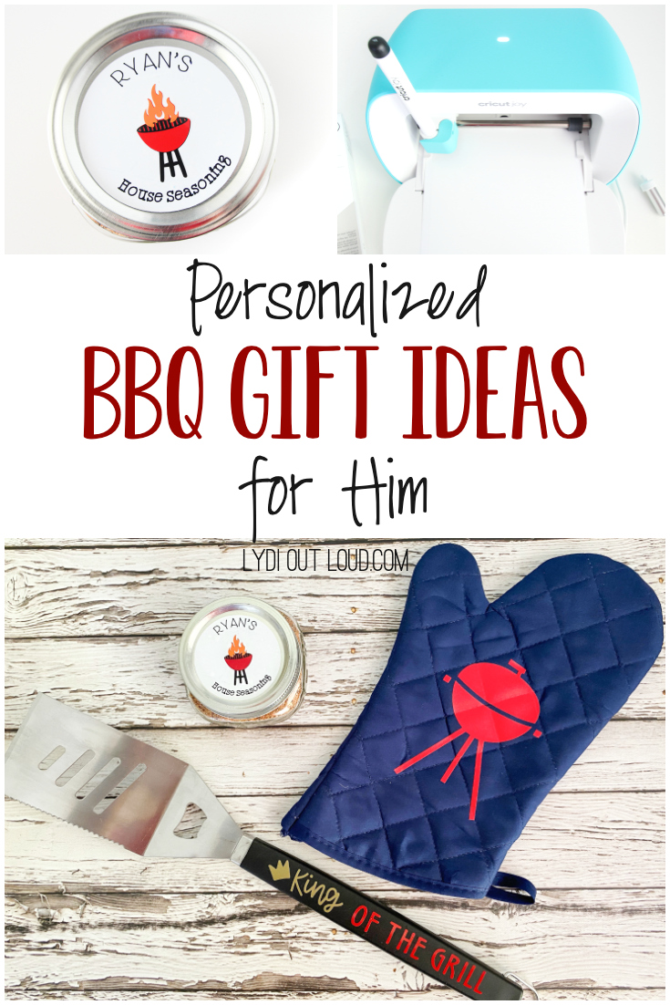 Make these easy Personalized BBQ Gift Ideas for Father's Day with a Cricut! #cricut #fathersdaygifts #diyfathersdaygiftideas via @lydioutloud