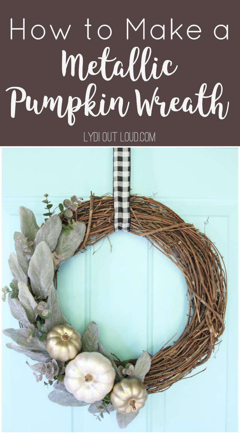 How to Make a DIY Metallic Pumpkin Wreath - perfect for fall! via @lydioutloud