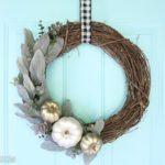 Lambs Ear Wreath with Metallic Pumpkins