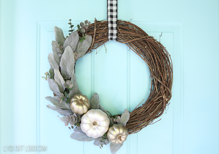 Lambs Ear Wreath with Metallic Pumpkins