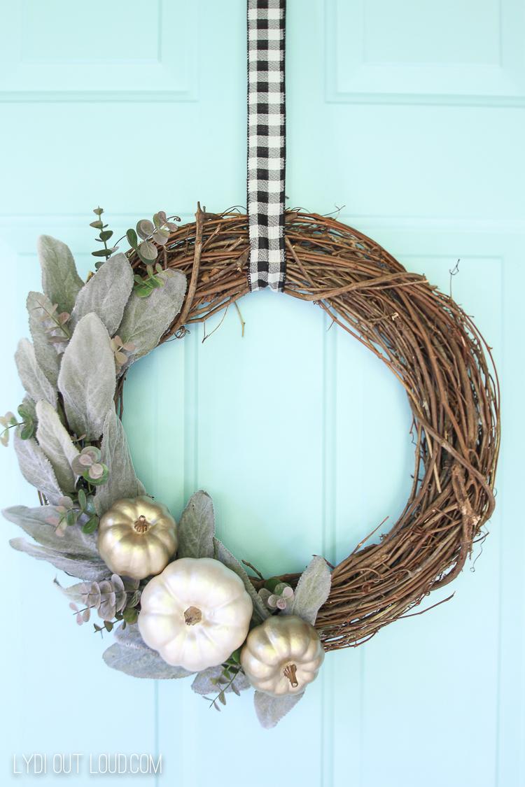 Painted Matte Metallic Pumpkin and Lambs Ear Wreath