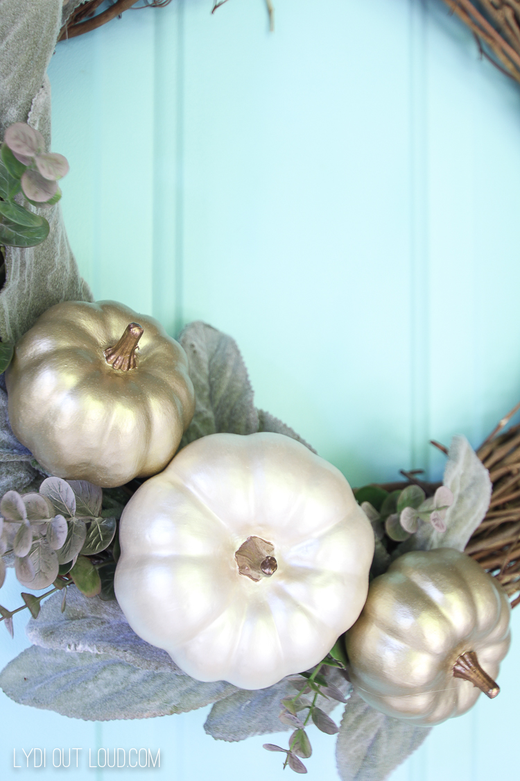 Painted Metallic Pumpkin Wreath for Fall