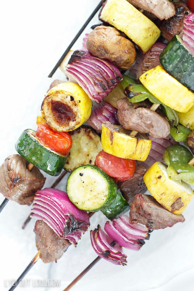 grilled beef shish kebabs