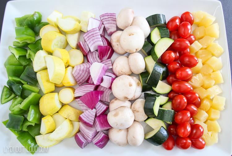 veggies for beef kabob bar