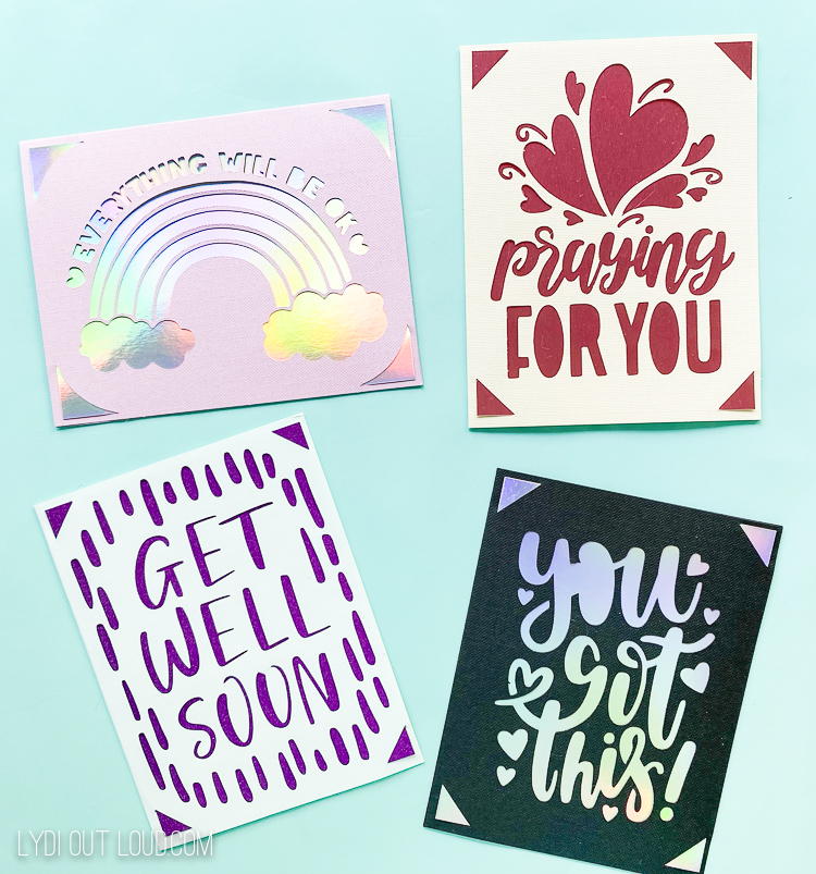 Cricut Joy sympathy and encouragement cards
