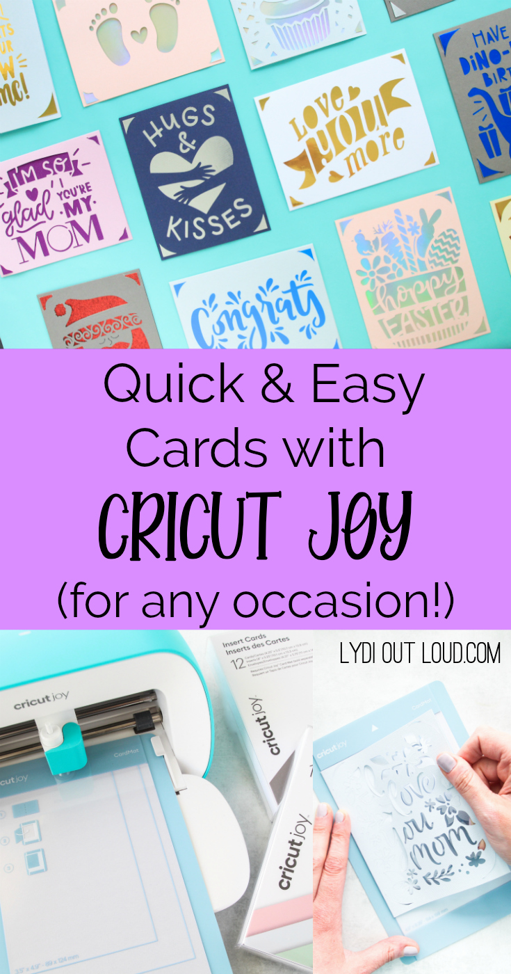 Make the easiest cards ever with the Cricut Joy card mat. There are literally Cricut cards for any occasion! via @lydioutloud
