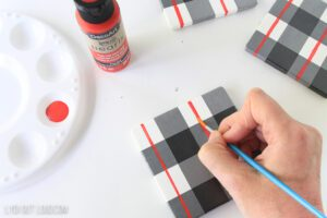 how to paint plaid coasters