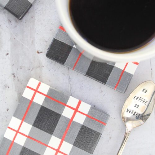 DIY Pearly Plaid Coasters
