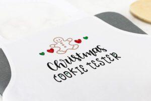 Custom Iron-on Christmas Cookie Tester Apron with a Cricut