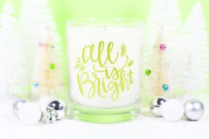 All is Bright Custom Adhesive Vinyl Candle